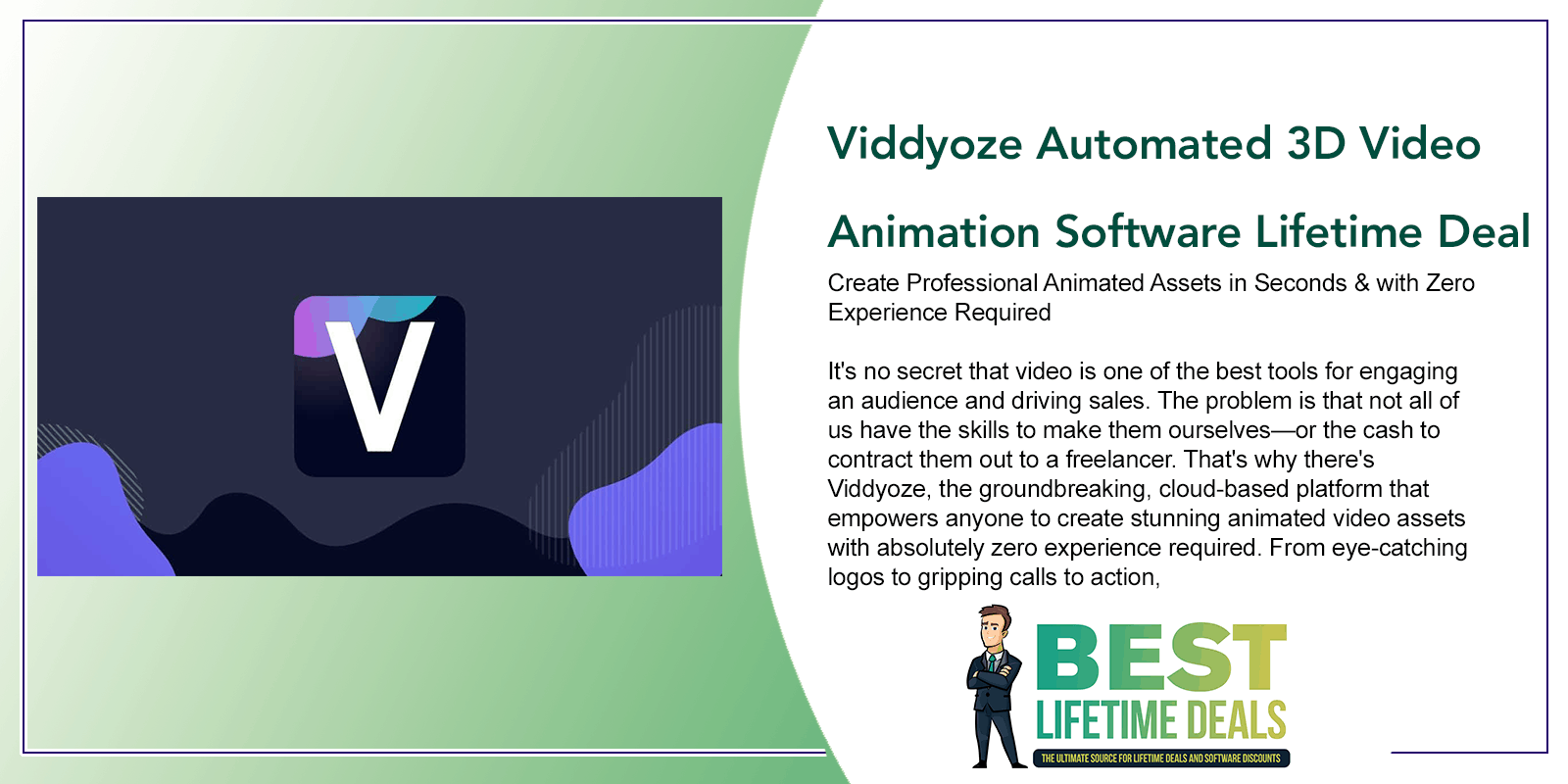 Viddyoze Automated 3D Video Animation Software Lifetime Deal Post Image
