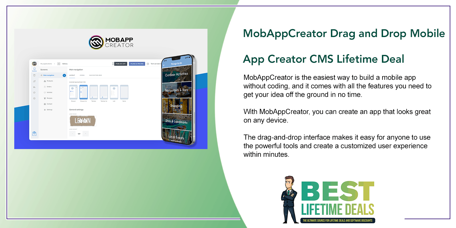 MobAppCreator Drag and Drop Mobile App Creator CMS Lifetime Featured Image
