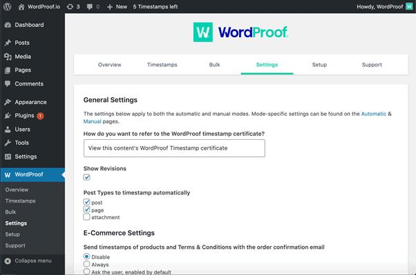 WordProof Screenshot 2
