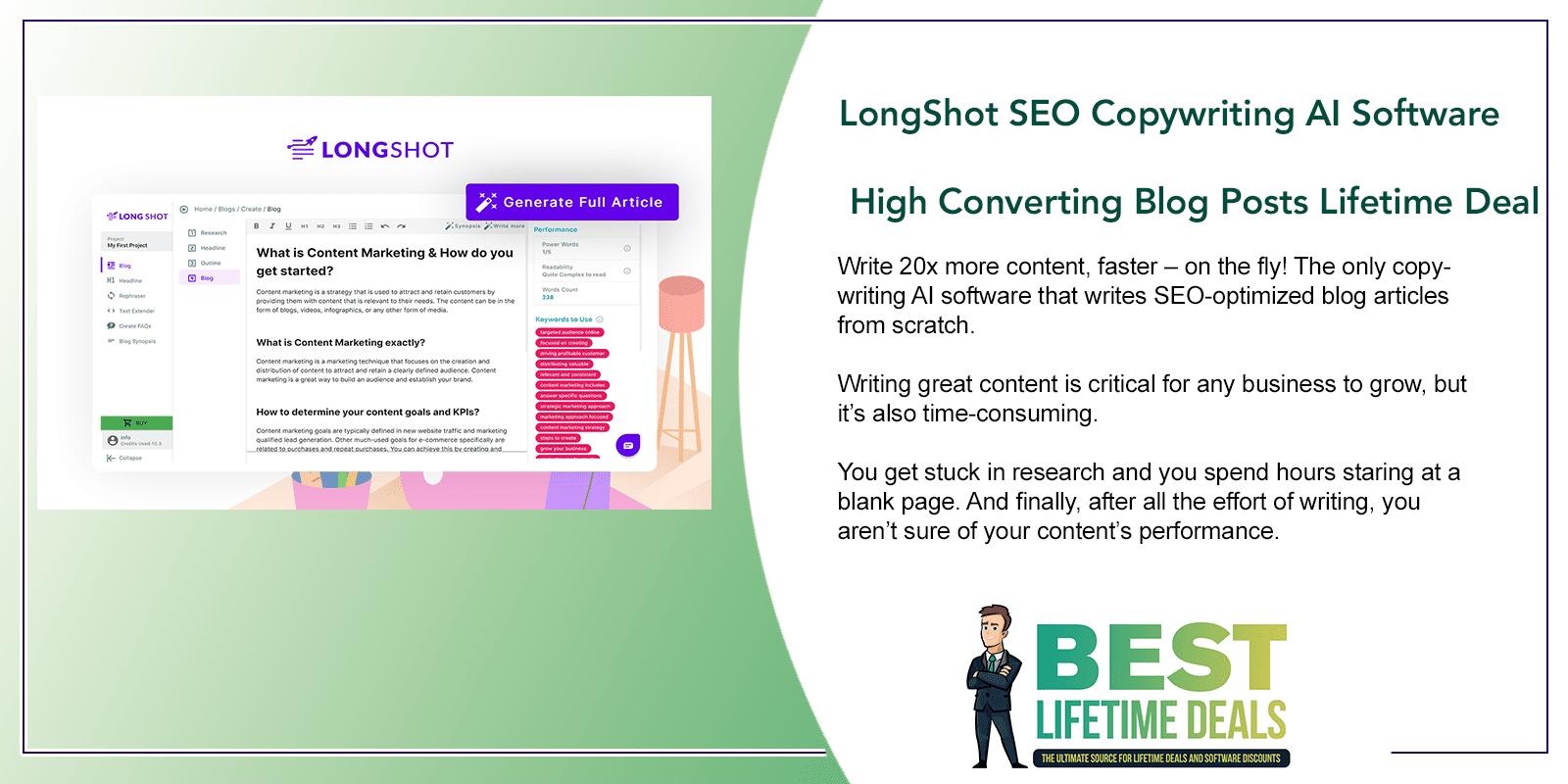 LongShot SEO Copywriting AI Software High Converting Blog Posts