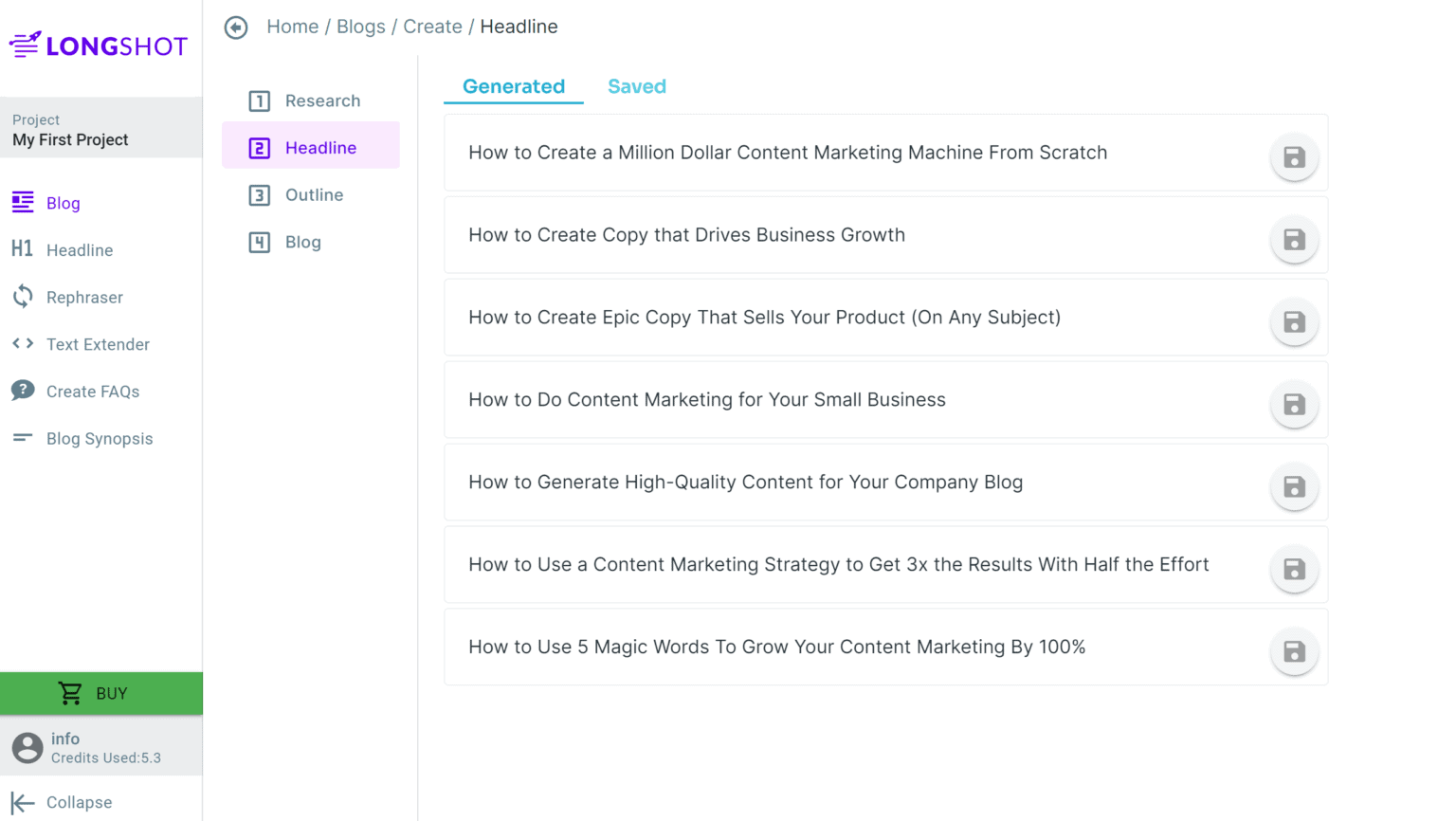 Step 2 Generate Potential Headlines For Your Blog Article