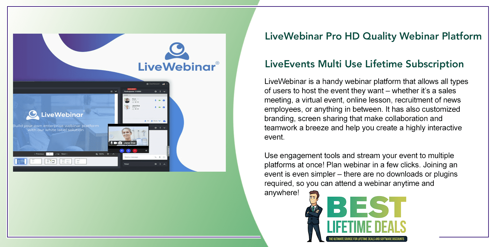 LiveWebinar Pro HD Quality Webinar Platform LiveEvents Multi Use Featured Image