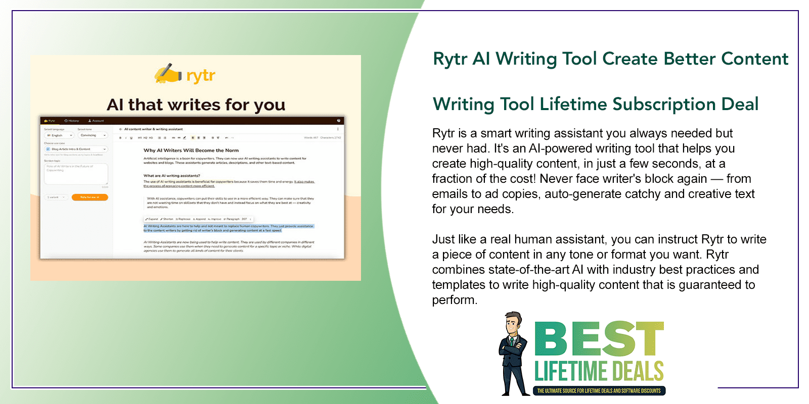 Rytr AI Writing Tool Create Better Content Writing Tool Featured Image